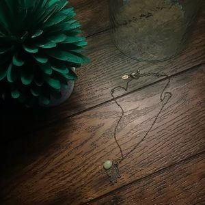 AEO Bronze Green Stone Hamsa Hand Short Necklace